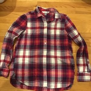 Old Navy pink and white flannel
